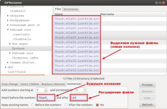 GPRename - массовое переименование файлов в Убунту