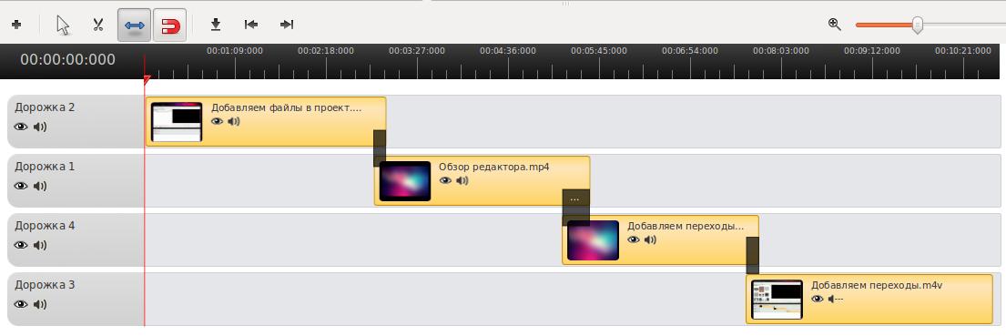 переходы в OpenShot