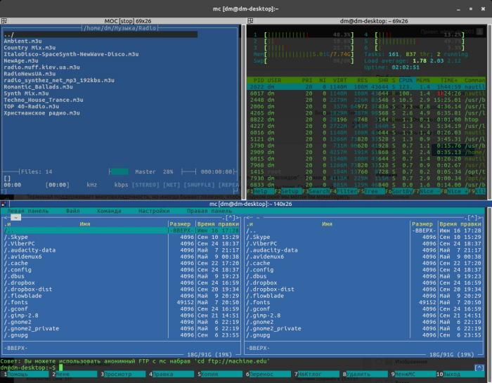 Многооконный терминал Terminator в Ubuntu